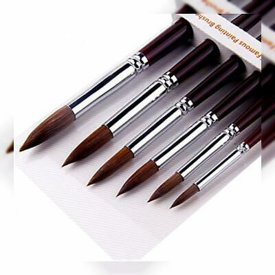 GP 6pcs Round Point Tip Paint Brush Set Sable Hair Artist Quality Art Painting