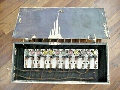 1898 Antique Electrical Panel Frankenstein 6 Knife Switchs & Fuse Box Steampunk