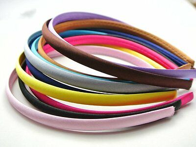 10 Mixed Candy Color 9mm Plastic Headband Covered Satin Hair Band DIY Craft Gift