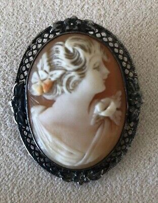 LOVELY ANTIQUE ART NOUVEAU SILVER FILIGREE CARVED SHELL CAMEO Raised Flower