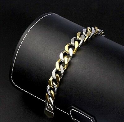 Silver/Gold Tone Cuban Curb Link Mens Chain Boys 316L Stainless Steel Bracelet