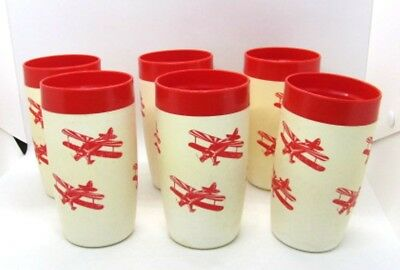 Biplane Airplane Set of 6 Vtg Plastic Mid Century Modern Tumbler Insulated Cups