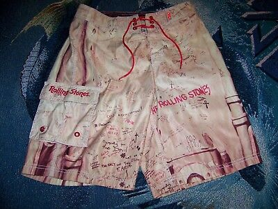 Vintage THE ROLLING STONES BEGGARS BANQUET Dragonfly Surf Swim Board Shorts 31