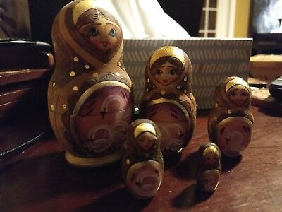 Vintage 5 Piece Wooden Russian Nesting Doll Set - swans