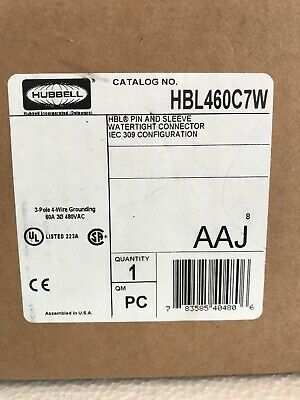 Hubbell HBL460C7W 3 Pole 60 amp 480VAC Receptacle