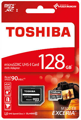 Toshiba Exceria M302 128GB Micro SD Memory Card 90 MB/s 4K + FREE SD adapter