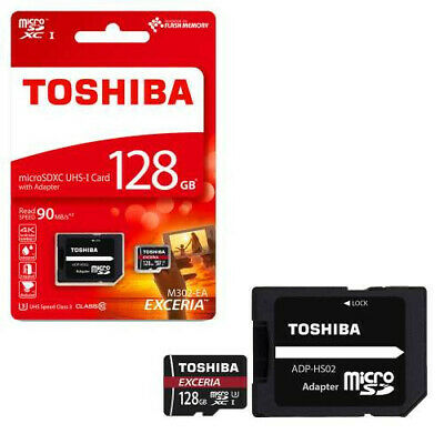 Toshiba Exceria M302 128GB Micro SD Memory Card 90 MB/s 4K + SD card adapter