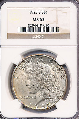 1923-S Peace Silver Dollar **Ngc Certified Ms 63** Free Shipping!
