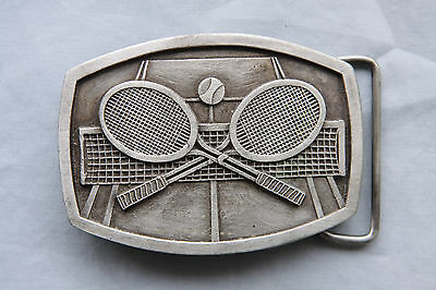 Vintage Indiana Metal Craft Tennis Rackets Belt Buckle 1977