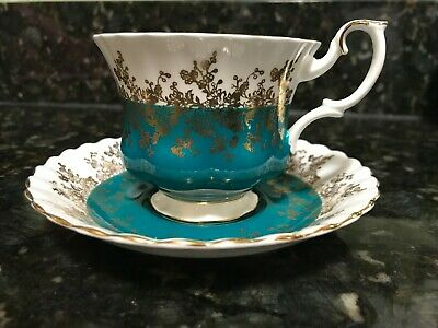 Royal Albert Regal Series Teal 1970 Tea Cup Saucer Bone China Gold Trim Vintage
