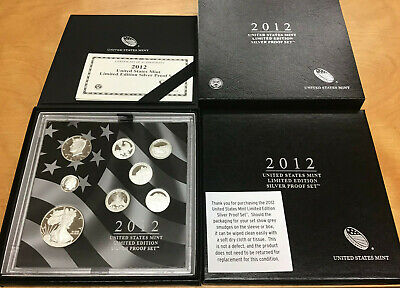 2012 US Mint Limited Edition Silver Proof Set 8 Silver Coins In Original Box