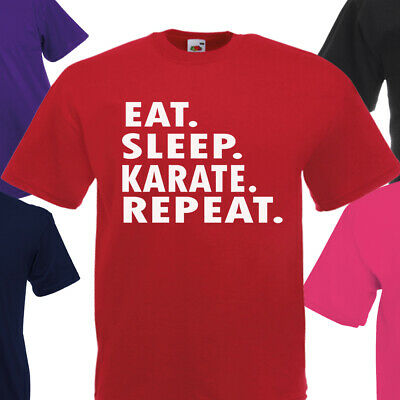 Eat Sleep Karate Repeat T Shirt Kids Children Boys Girls Martial Arts Fighting