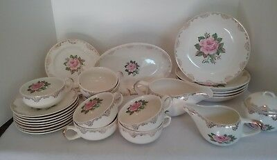 PADEN CITY POTTERY American Rose 22K Gold  Vintage LOT  of 28 PIECES  USA