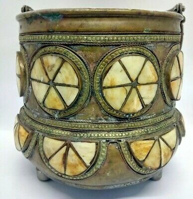 Vintage/Antique Moroccan/Islamic Copper & Bone Ice Bucket, Coal Shuttle, Bowl