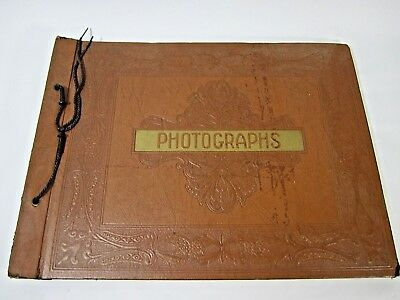 Antique Tooled Victorian Leather Photo Album 1930s 1940s Heavily Distressed