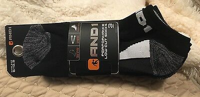 NEW Mens And1 Performance LOW CUT  Socks 3 PACK BLACK SHOE SIZE 6 - 12.5