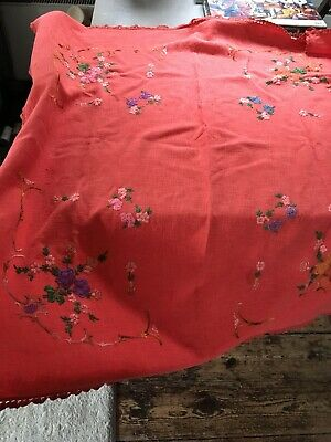 """54 x 49"""" Vintage Hand Embroidered Linen Tablecloth-BEAUTIFUL FLORAL Burnt Orange"""