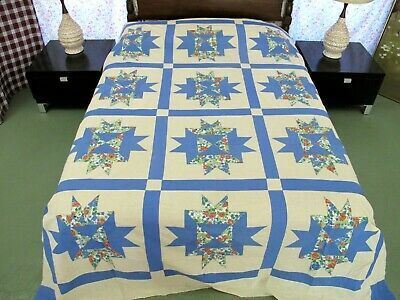 QUEEN Vintage Feed Sack Applique NOON & LIGHT, 12-Point Star Quilt TOP, Good !