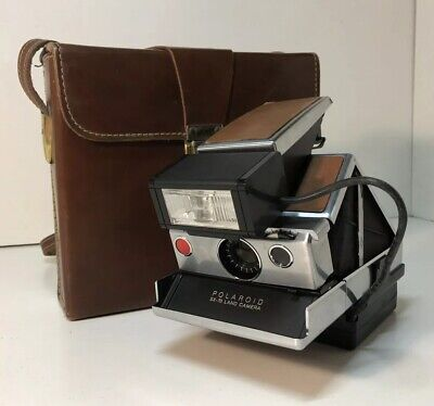 Vintage Polaroid SX-70 Land Camera Brown Leather w/Case & Flash System UNTESTED