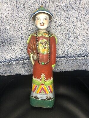 Chinese Antique Famille Rose Porcelain Emperor Figurine Statue With Mark 11""
