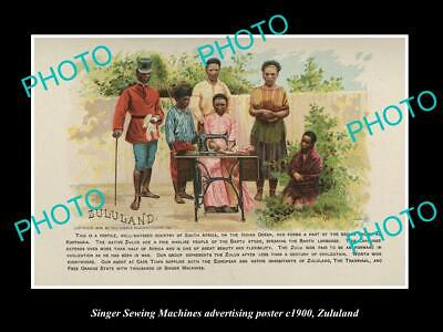 OLD POSTCARD SIZE PHOTO OF SINGER SEWING MACHINE AD POSTER c1900 ZULULAND