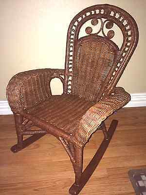 Vintage CHILD'S Rocking Chair Wicker and Wood Original Finish Med Brwn