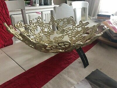 Tahari Home Nwt Large Ftd Metal Continuous  Butterfly's  Bowl Gold Finish
