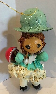 Vintage Paper Mache Christmas Ornament Girl with Basket