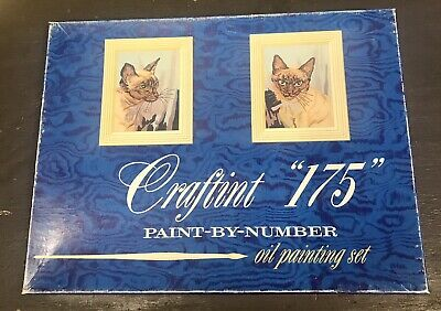 "Vintage 1958 Crafting ""175"" Paint By Numbers Set Siamese Cat 2 - 9x12"