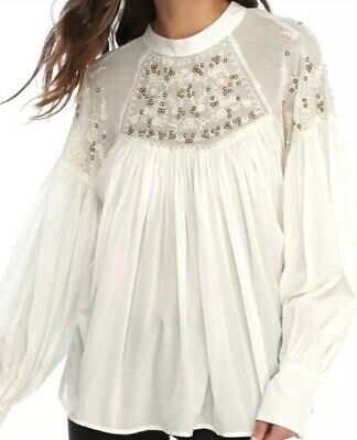 7703d5265bfc2 Free People- Have It My Way Ivory Embroidered Peasant Top SZ Small READ  Shirt