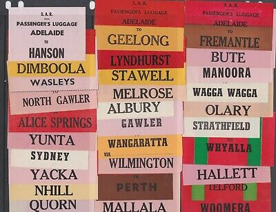28 different OLD SAR Railway luggage labels destinations from Adelaide Australia