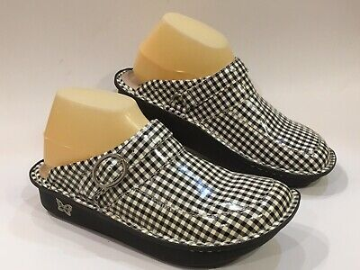 27e880976a5e ALEGRIA 40 9-9.5 Womens BLACK HoundsTooth PG Lite MULE Slip On SEVILLE Shoes  EUC