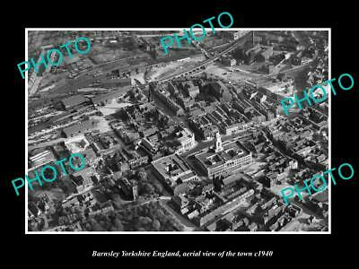 OLD 6 X 4 HISTORIC PHOTO OF BARNSLEY ENGLAND, AERIAL VIEW OF TOWN c1940 2