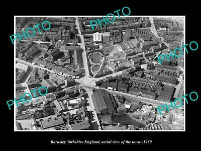 OLD 6 X 4 HISTORIC PHOTO OF BARNSLEY ENGLAND, AERIAL VIEW OF TOWN c1930 1