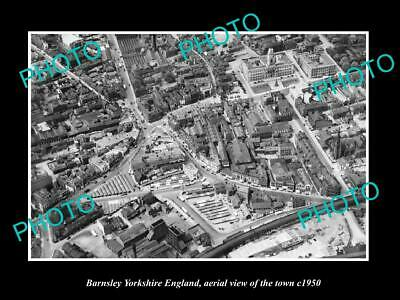 OLD 6 X 4 HISTORIC PHOTO OF BARNSLEY ENGLAND, AERIAL VIEW OF TOWN c1950