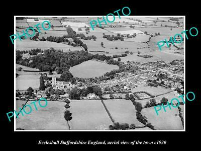 OLD 6 X 4 HISTORIC PHOTO OF ECCLESHALL ENGLAND, AERIAL VIEW OF THE TOWN c1930 1