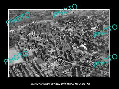 OLD 6 X 4 HISTORIC PHOTO OF BARNSLEY ENGLAND, AERIAL VIEW OF TOWN c1940 1