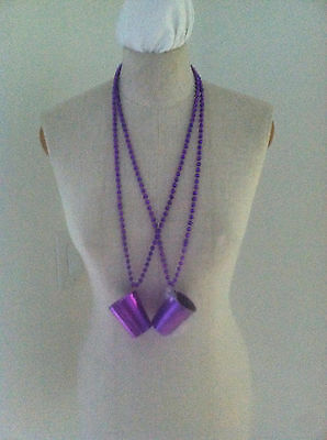 New 2 Purple Beaded Necklace Shot Glass Portable Shot Glasses Necklace Bar Hopin