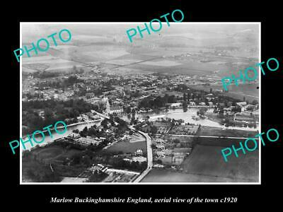 OLD 6 X 4 HISTORIC PHOTO OF MARLOW ENGLAND, AERIAL VIEW OF THE TOWN c1920 1