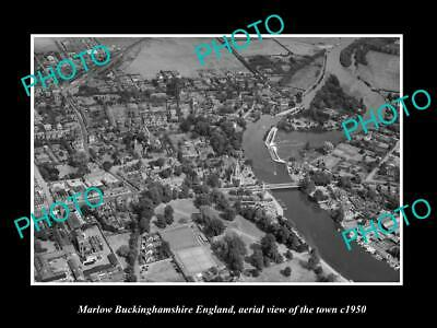 OLD 6 X 4 HISTORIC PHOTO OF MARLOW ENGLAND, AERIAL VIEW OF THE TOWN c1950 3