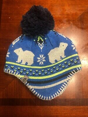 37d827dec50 VGUC The North Face Baby Faroe Beanie Hat Fleece Lined Blue Lime XS 6-24