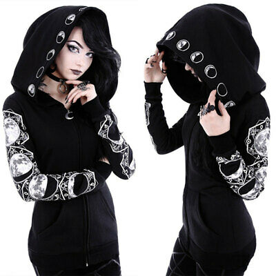 Women Gothic Punk Moon Print Hooded Coat Jacket Hoodie Sweater Cardigan Top K5J0