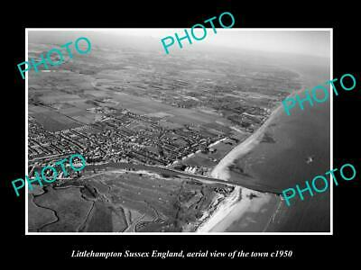 OLD 6 X 4 HISTORIC PHOTO OF LITTLEHAMPTON ENGLAND, AERIAL VIEW OF TOWN c1950 1