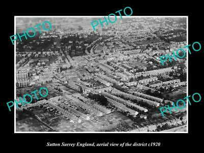 OLD 6 X 4 HISTORIC PHOTO SUTTON SURREY ENGLAND, AERIAL VIEW OF DISTRICT c1920
