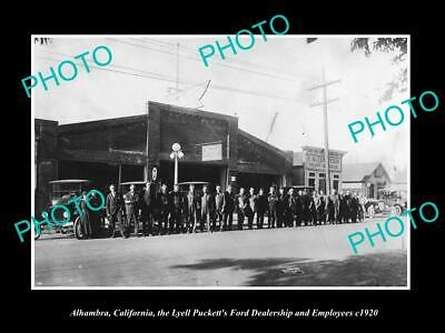 OLD 6 X 4 HISTORIC PHOTO OF ALHAMBRA CALIFORNIA, FORD MOTORS DEALERSHIP c1920