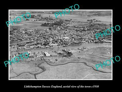 OLD 6 X 4 HISTORIC PHOTO OF LITTLEHAMPTON ENGLAND, AERIAL VIEW OF THE TOWN c1930