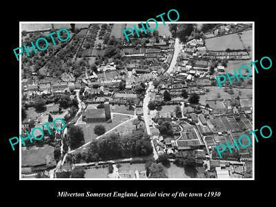 OLD 6 X 4 HISTORIC PHOTO OF MILVERTON SOMERSET ENGLAND, AERIAL VIEW TOWN c1930 2