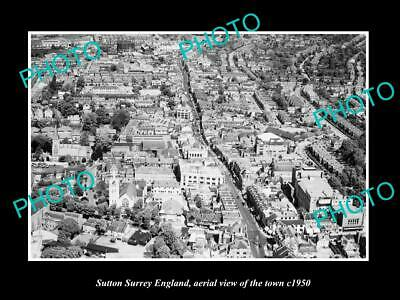 OLD 6 X 4 HISTORIC PHOTO OF SUTTON SURREY ENGLAND, AERIAL VIEW OF TOWN c1950