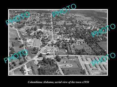 OLD 6 X 4 HISTORIC PHOTO COLUMBIANA ALABAMA, AERIAL VIEW OF THE TOWN c1950