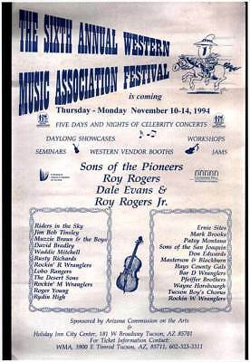 1994 POSTER - SIXTH ANNUAL WESTERN MUSIC ASSOC. FESTIVAL Sons of the Pioneers